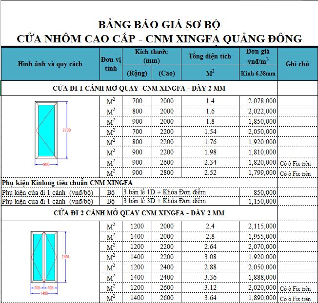 banggiaxingfa - Báo giá cửa nhôm Xingfa
