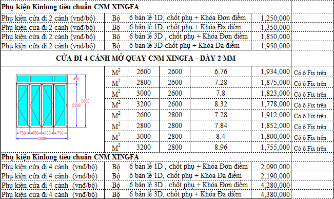 banggiaxingfa1 - Báo giá cửa nhôm Xingfa