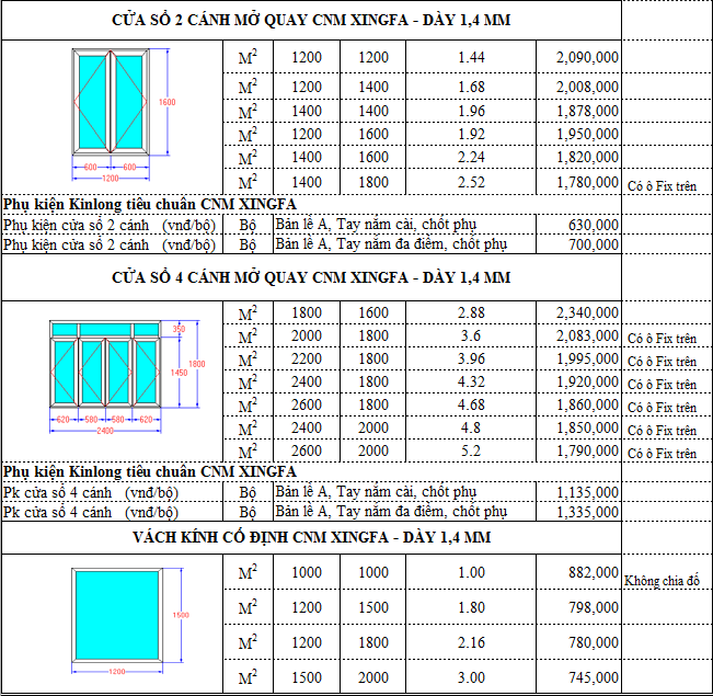 banggiaxingfa5 - Báo giá cửa nhôm Xingfa