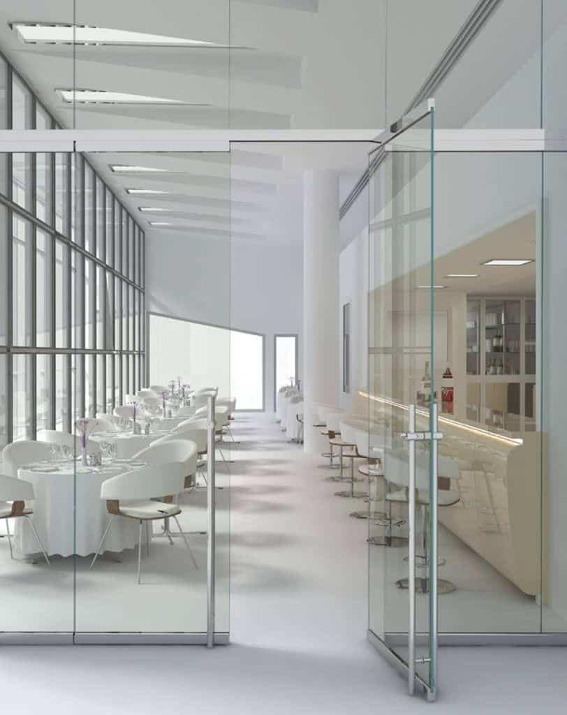 Phan biet cac loai cua kinh lua treo va cua kinh ban le san1 - Phân biệt các loại cửa kính lùa treo và cửa kính bản lề sàn