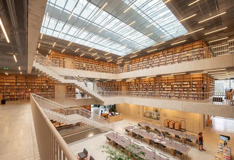 mai kinh lay sang thu vien - Những loại công trình nào nên sử dụng mái kính giếng trời lấy sáng?